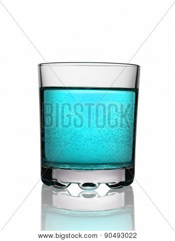 Glass With Blue Fizzy Cocktail On White Background