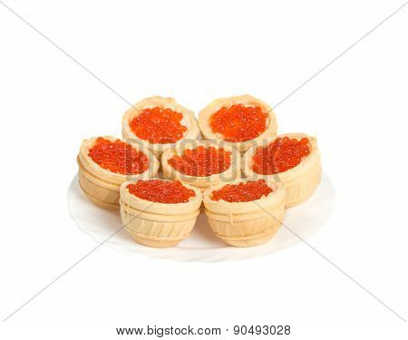 Red Caviar In Tartlets On Plate