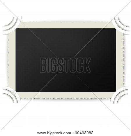Retro Photo Frame With Figured Edges In Vintage Photoalbum Isolated On White Background