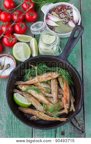 Fried small fish. Smelt.