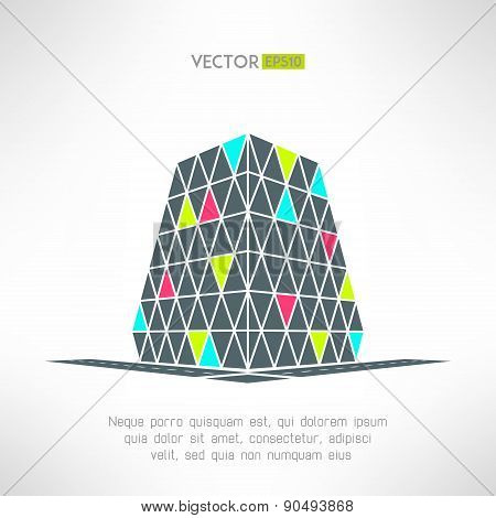 Vector puzzle building in pespective. Shopping mall symbol. Supermarket logo