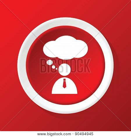 Thinking person icon on red
