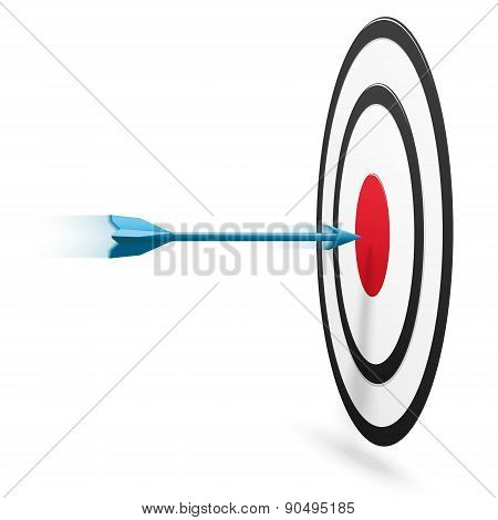 Arrow Hitting The Center Of Target