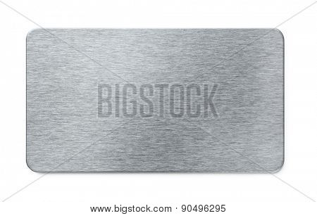 Brushed steel plate isolated on white