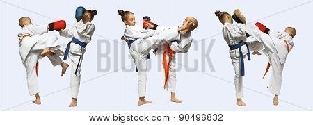 Collage sportsmen are training beat blows mawashi geri