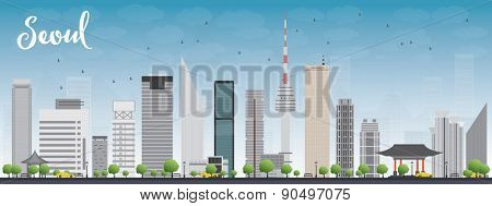 Seoul skyline with grey building and blue sky Vector illustration