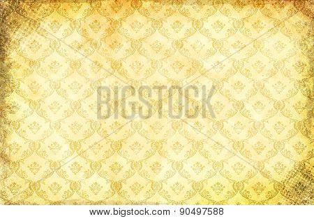 Grunge Paper Background With Damask Pattern.