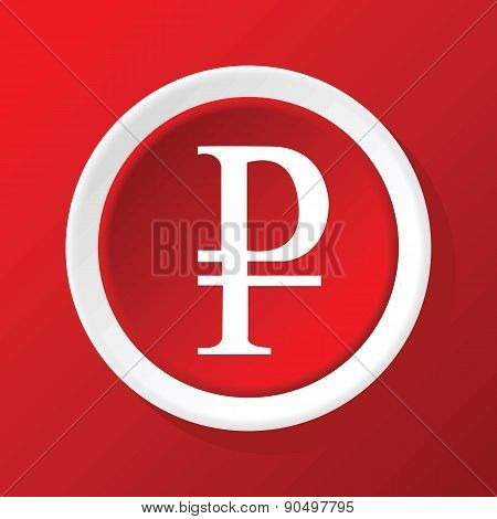 Ruble icon on red