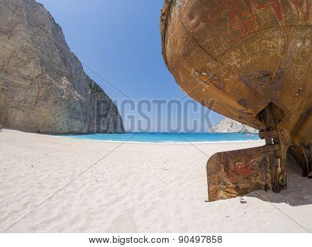 The famous Navagio Shipwreck beach in Zakynthos island Greece