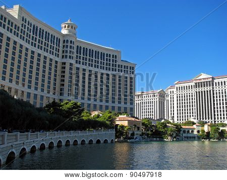 LAS VEGAS, NEVADA, USA  - NOVEMBER 04: Bellagio and Caesars Palace Hotel Casino 2012