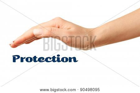 Female hand with protection isolated on white