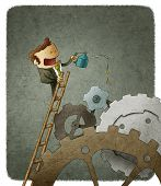 picture of lubricant  - funny illustration of  a businessman oiling gears - JPG