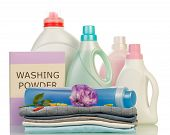 picture of detergent  - Detergent with washing powder and towels isolated on white - JPG