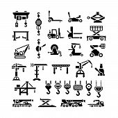 stock photo of crane hook  - Set icons of lifting equipments cranes winches and hooks isolated on white - JPG