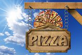 picture of food chain  - Wooden sign with metal frame and text pizza slices of pizza on cutting board - JPG