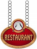 image of food chain  - Wooden sign with frame white plate with silver cutlery and text restaurant - JPG