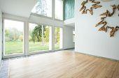 stock photo of enormous  - Stylish empty family room overlooking the garden - JPG
