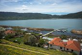 Small Village On Slope Of  Hill At Prespa Lake poster