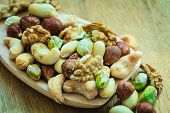 pic of mixed nut  - Healthy organic nutrition high fatty acids food and cuisine - JPG