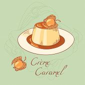 stock photo of dessert plate  - Creme caramel on plate isolated in vector - JPG