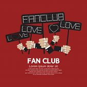 foto of groupies  - Fan Club Showing Message Board Vector Illustration - JPG