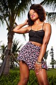 stock photo of jamaican  - Stock image of a Jamaican fashion model in fashionable clothing - JPG