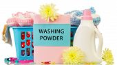 picture of detergent  - Detergent with washing powder and towels in basket isolated on white background - JPG