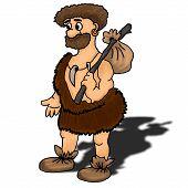 image of hunters  - Ancient man vector illustration happy humour hunter - JPG