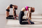 image of stretch  - women warming up arching stretching their backs holding legs and working out in a gym yoga class - JPG