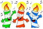 stock photo of singing  - vector illustration of cartoon birthday candles singing a birthday song - JPG
