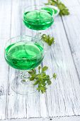 stock photo of jello  - Portion of homemade Woodruff Jello (on a bright background) ** Note: Shallow depth of field - JPG