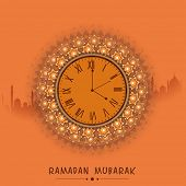 stock photo of ramadan mubarak  - Beautiful clock indicating time for prayers - JPG