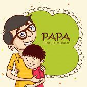 pic of special day  - Cartoon design of a father hugging to his son on the occasion of Happy Father - JPG