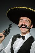 picture of sombrero  - Smiling mexican with sombrero isolated on white - JPG