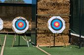 stock photo of archery  - Targets for archery on green grass - JPG