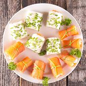 stock photo of canapes  - buffet food - JPG
