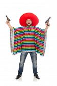 foto of pistols  - Funny mexican holding pistol isolated on white - JPG