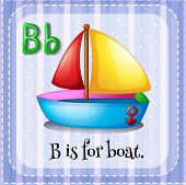 foto of letter b  - English flashcard letter B is for boat - JPG