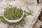 stock photo of mung beans  - Portion of dried Mung Beans (detailed close-up shot)