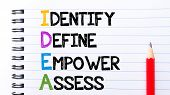 stock photo of empower  - IDEA as Identify Define Empower Assess Text written on notebook page red pencil on the right - JPG