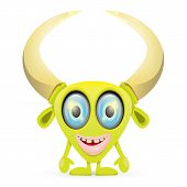 stock photo of centaur  - Green Cartoon cute monster isolated on white - JPG