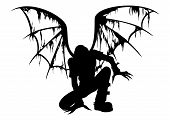 image of hells angels  - Silhouette of the fallen angel with burned wings - JPG