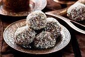 pic of truffle  - candies chocolate  truffles on metalic plate  - JPG