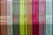 pic of silk worm  - Patterned silks of various colors for weaving - JPG