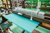 picture of silk worm  - Machine woven silk traditional typical rural Thailand - JPG