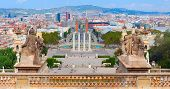 image of squares  - Placa De Espanya is the most important square in the centre of barcelona near national museum - JPG