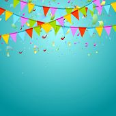 stock photo of confetti  - Party flags colorful celebrate abstract background with confetti - JPG