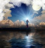 picture of lighthouse  - red and white lighthouse near sea under full moon - JPG