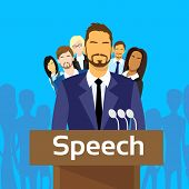 picture of tribunal  - Tribune Speech Businessman Politic with Team People Group Microphones Flat Vector Illustration - JPG