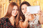 picture of bff  - Beautiful young smiling trendy girls using tablet - JPG